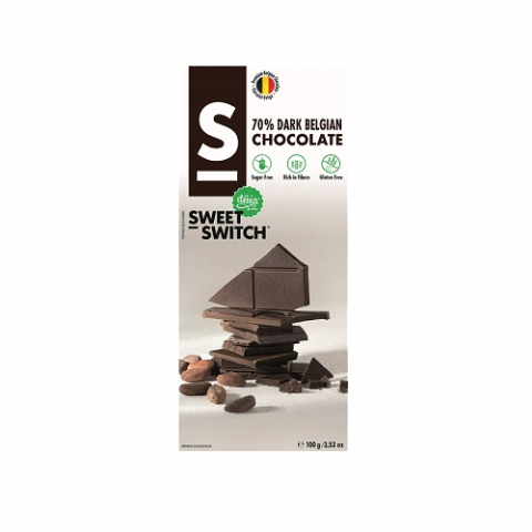 Dark Belgian Chocolate Bar No Added Sugar Vegan Gluten Free Stevia SWEET SWITCH 100g